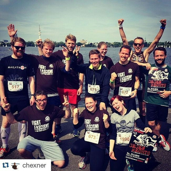 """Repost @chexner ・・・ 4th Edition of """"Lauf gegen Rechts"""" by FC St. Pauli Marathon checked. Attended all of them. But never before so many of my friends participated - that was a blast guys!! Fightfascism Nazisraus FCSP Gegengerade Alster Hamburg Welovehh"""