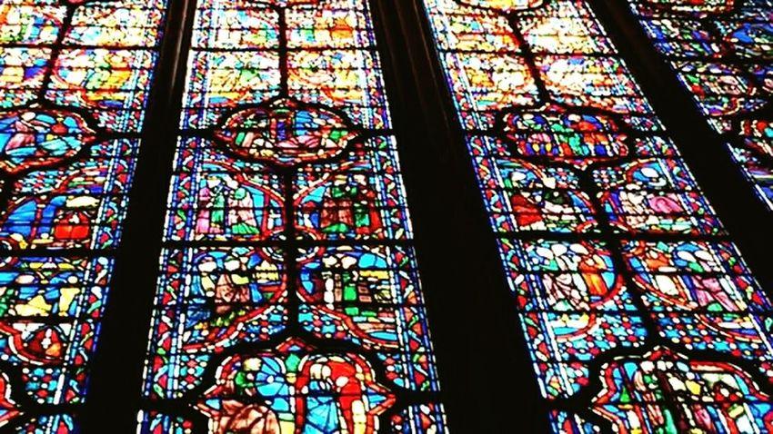Glasswindows Colors Cathedral France Paris Art Architecture