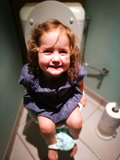 EyeEm Selects Childhood Bathroom Child Happiness Toilet Bowl Babies Only Smiling One Person Flushing Toilet Close-up Domestic Bathroom Domestic Room Pottytraining Odette Takingapoop