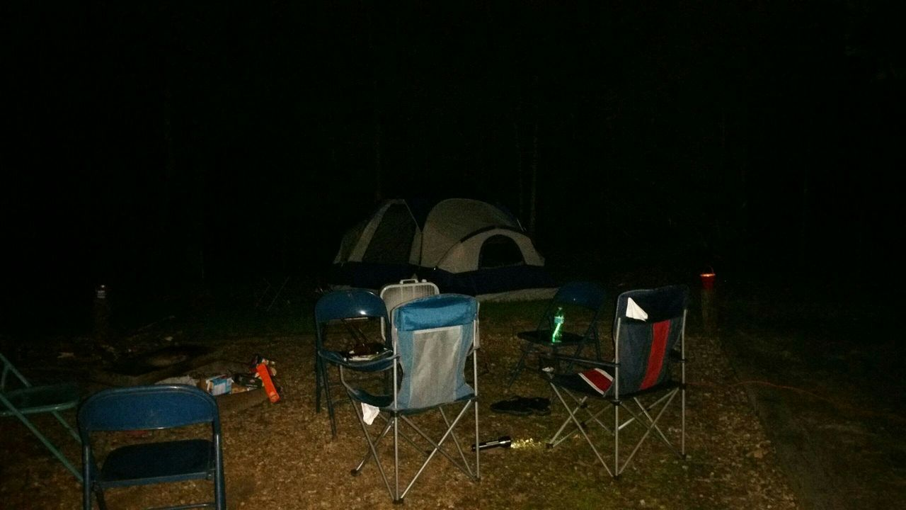 chair, copy space, night, absence, table, camping, no people, folding chair, seat, tent, outdoors