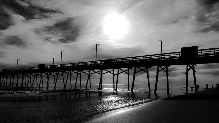 Life below the Pier. PhotographybyTripp Smartphone Photography Phoneography Samsung Galaxy Note 5 Camera360Ultimate Pixlr Pierlife EyeEm Best Shots - Black + White EyeEm Best Shots - Nature EyeEM Beach Photography Eyeem Beach Eyeem Beach Shots