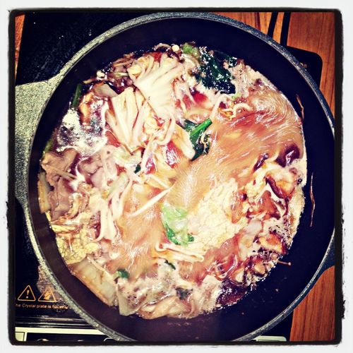 halfway thru' my sukiyaki! Sukiyaki Nabesogood