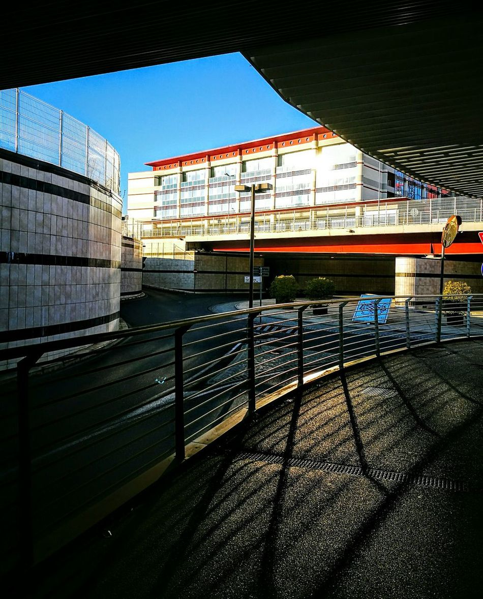 Bridge - Man Made Structure Clear Sky Architecture No People Railroad Station Platform Pistoia Modern Architecture Sunset Sunlight And Shadow Glass Reflection Urban Geometry Porta Nuova Built Structure Outdoors Train - Vehicle Day