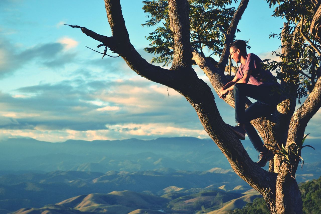 tree, real people, tree trunk, leisure activity, sitting, one person, nature, lifestyles, full length, young women, outdoors, mid adult women, young adult, casual clothing, day, beauty in nature, sky, scenics, relaxation, forest, rope swing, beautiful woman, branch
