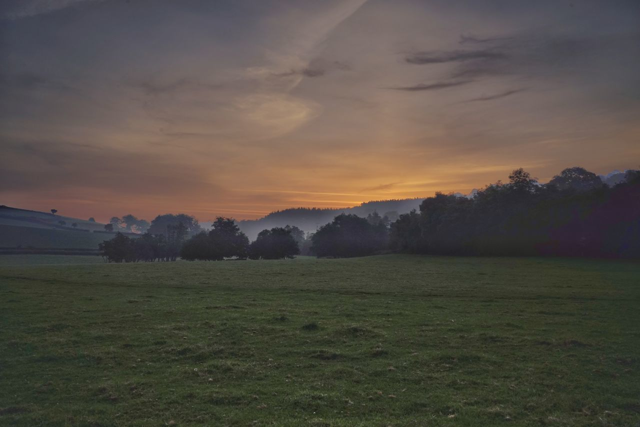 sunset, nature, grass, scenics, landscape, beauty in nature, sky, tranquility, field, no people, tranquil scene, tree, outdoors, mountain, golf course, day