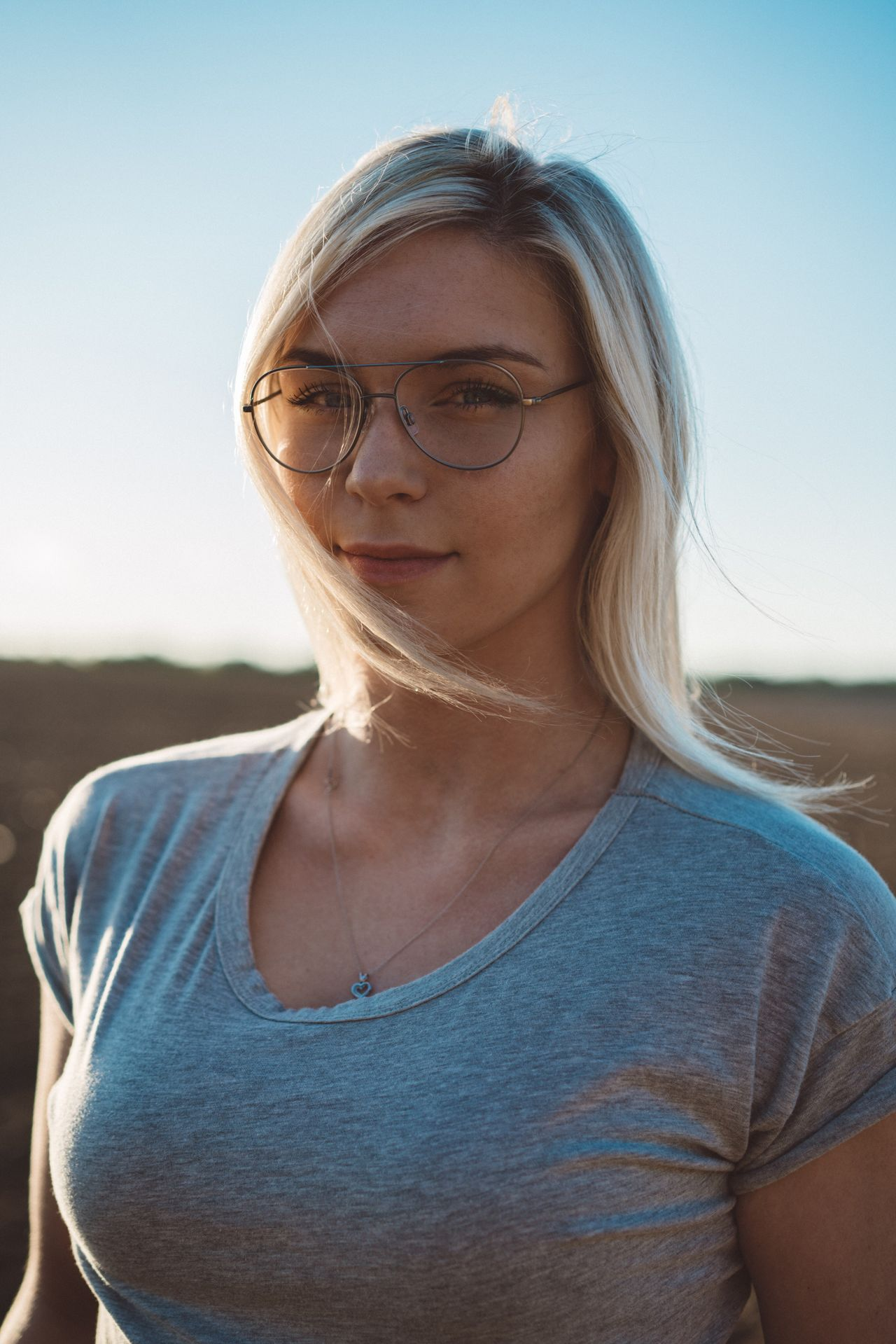 One Person Front View Young Adult Blond Hair Real People Portrait Young Women Eyeglasses  Beautiful Woman Clear Sky Outdoors Day Nature Sky People The Portraitist - 2017 EyeEm Awards