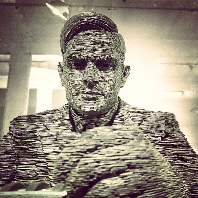Another pic of AlanTuring made out of Slate at BletchleyPark CodeBreakers art genius XperiaZ3