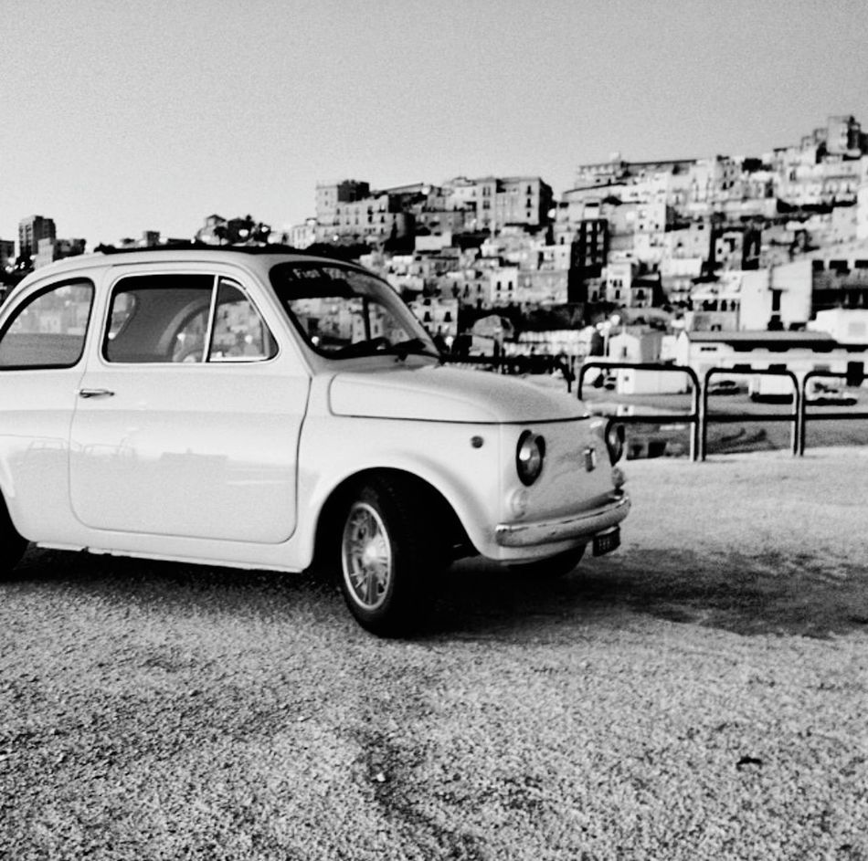 Fiat500 500 Car Clear Sky Old-fashioned Outdoors Land Vehicle No People Stationary Old Classic Classic Cars Classic Car Classic Elegance Car Of Eyeem Old School Old School Car Old Landscape Blackandwhite Black & White Black&white Harbor View Harbor Harbor Sunset Blue