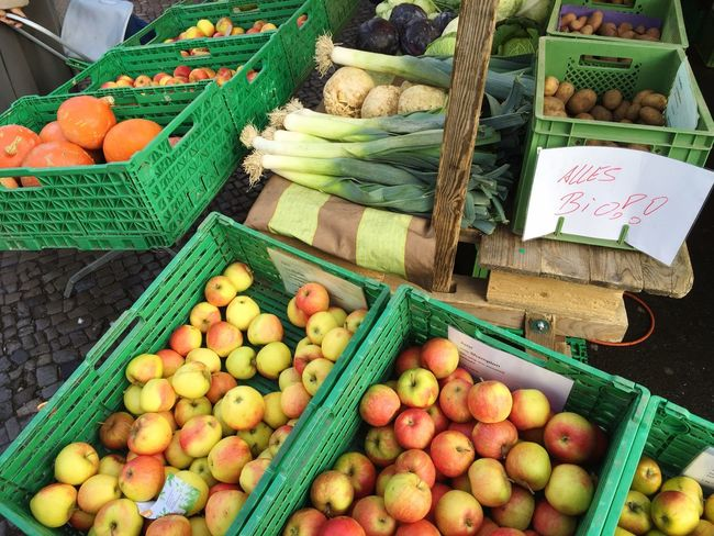 Organic Food Bio Market Market Stall Fruit Vegetables Fresh Produce Vitamins Groceries Apples Pumpkins