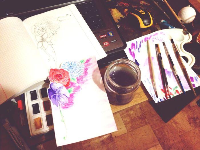 My Desk Postcard Mom Art Drawing
