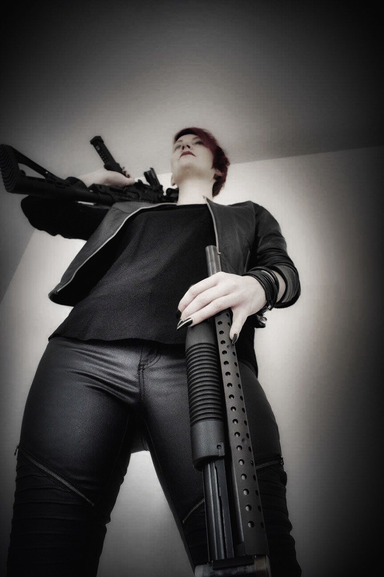 "I am ready for the zombie apocalypse😁😁😁/ Agent 47 series ""femme fatale"" Guns Weapons Dangerous Modeling Model Pose Posing Canonphotography Female Femme Fatale Female Model Woman Inspired By Movies Eye4photography  Posing For The Camera Tadaa Community Gun Weapon Assignments"