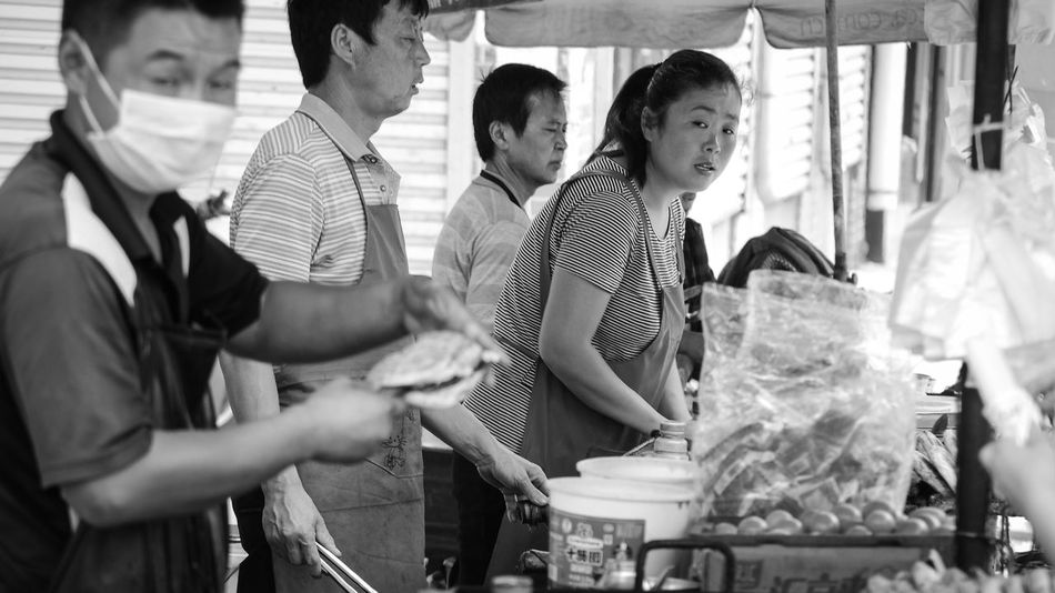 stare at the european tourist: 3 Black And White Bnw China City Cooking EyeEm Best Shots Food Fortheloveofblackandwhite Hygenic Life Looking At Me Monochrome People Portrait Real People Selling Side View Street Life The Tourist Togetherness Urban Young Adult