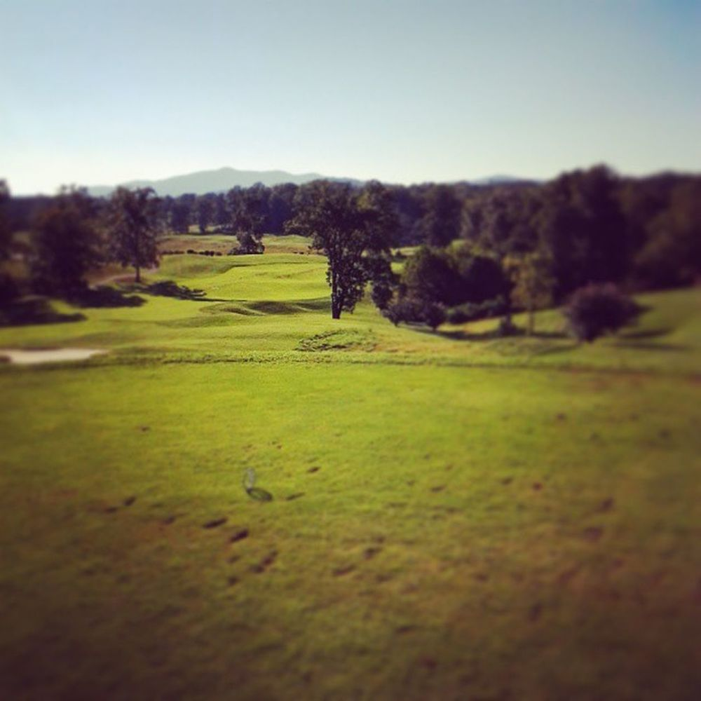 The view from the fairway at the first hole at Poplar Grove. Golf Poplargrove Mountains Happiness