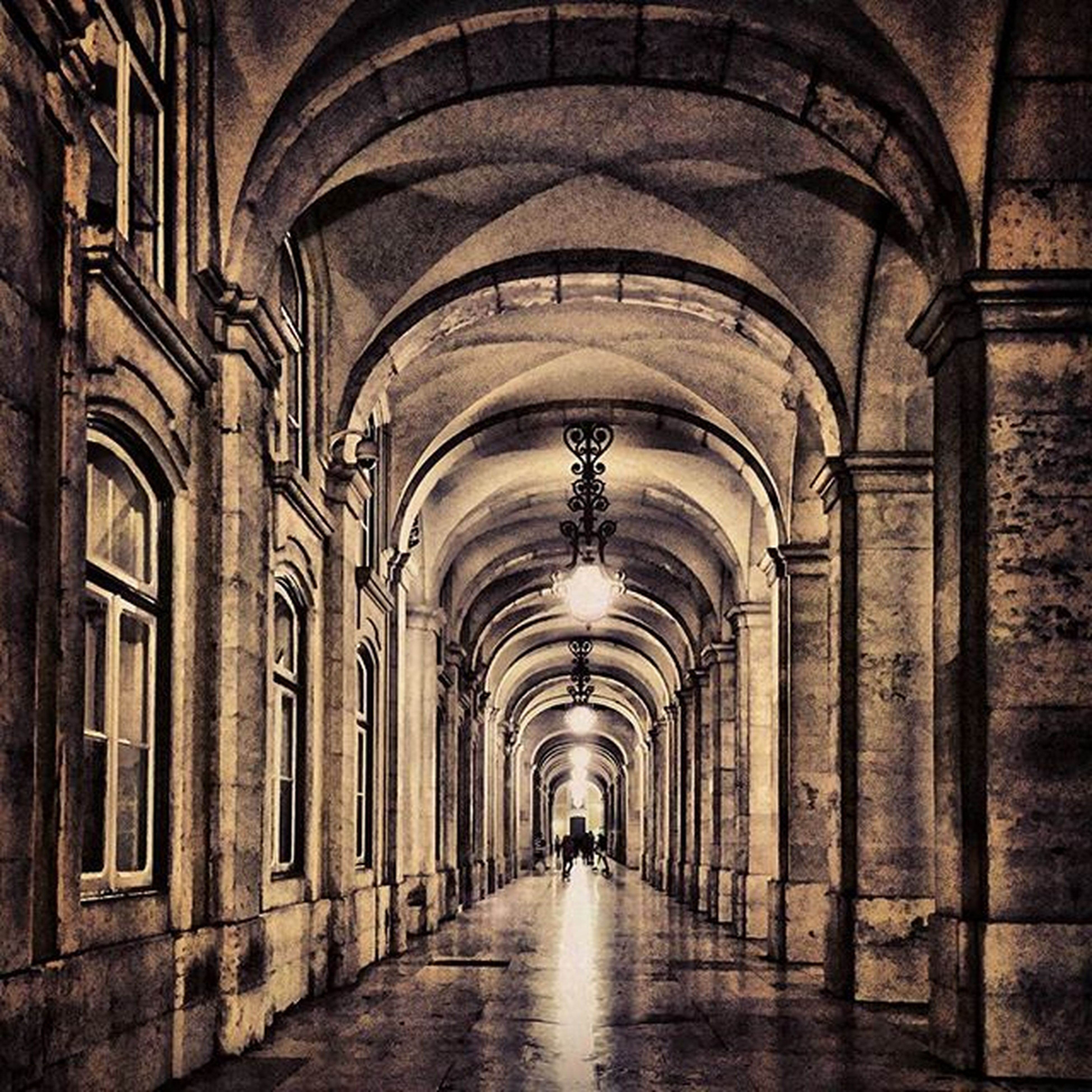 arch, the way forward, indoors, architecture, diminishing perspective, built structure, corridor, vanishing point, archway, ceiling, tunnel, in a row, empty, arched, narrow, walkway, illuminated, cobblestone, walking, building