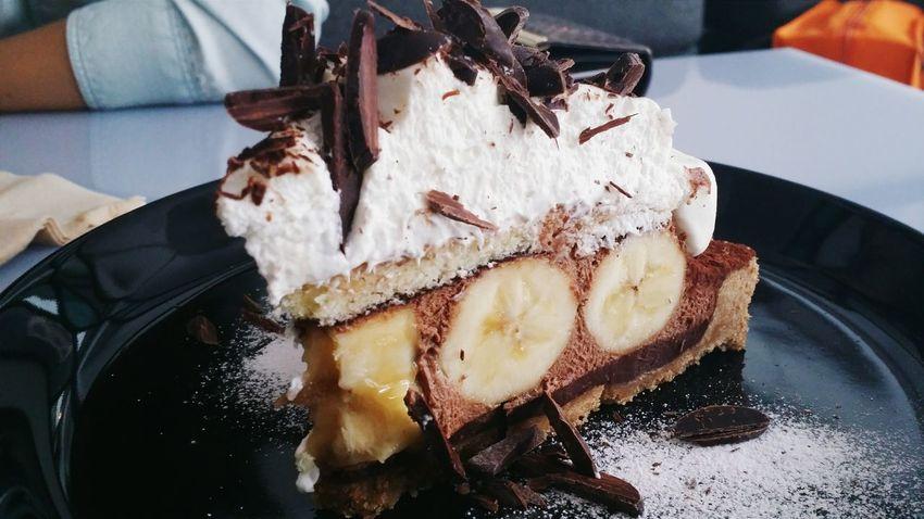 Tart banana chocolate mousse