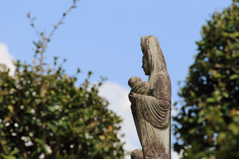 Art And Craft Clear Sky Close-up Day Focus On Foreground Human Representation Japan Photography Jizo Low Angle View Nature No People Outdoors Sculpture Sky Statue Tree 地蔵 Art Is Everywhere EyeEmNewHere