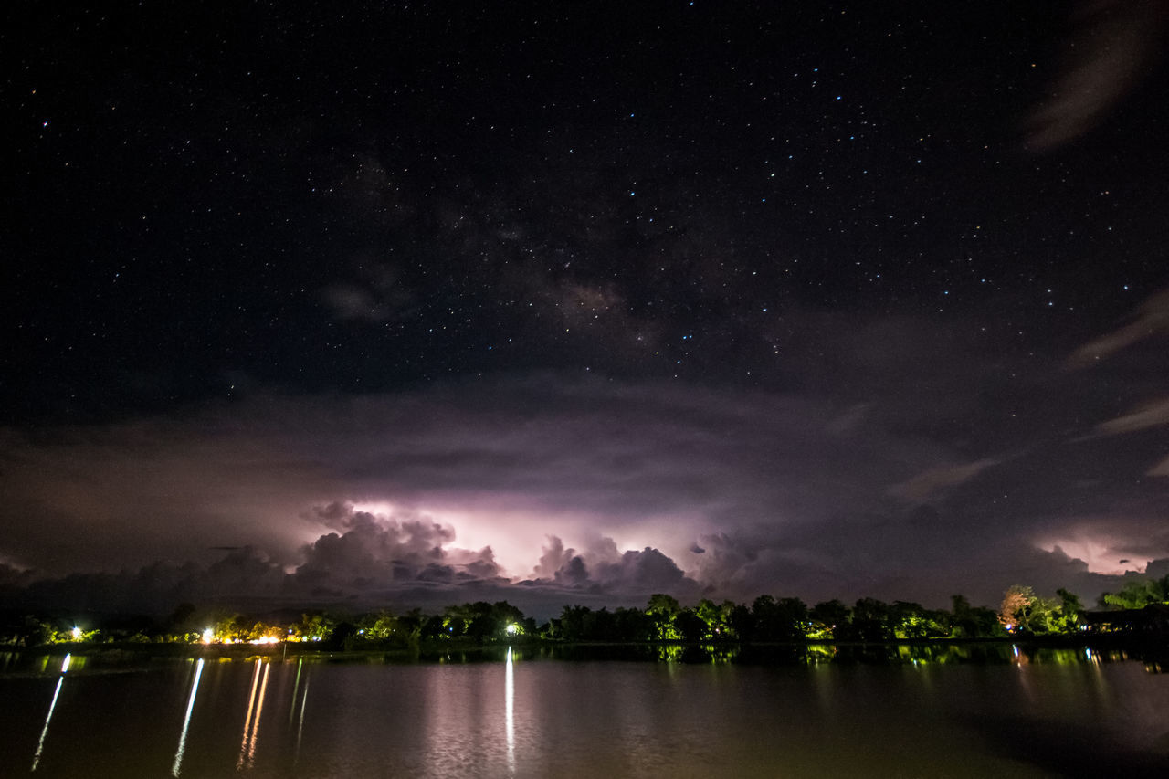 night, water, sky, beauty in nature, scenics, waterfront, nature, no people, tranquil scene, outdoors, lake, cloud - sky, illuminated, star - space, astronomy, galaxy