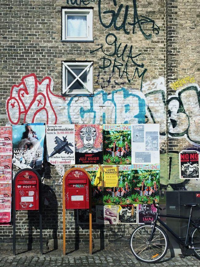 Bike Grafitti Copenhagen, Denmark Copenhagen Colorful Wall Wall Art