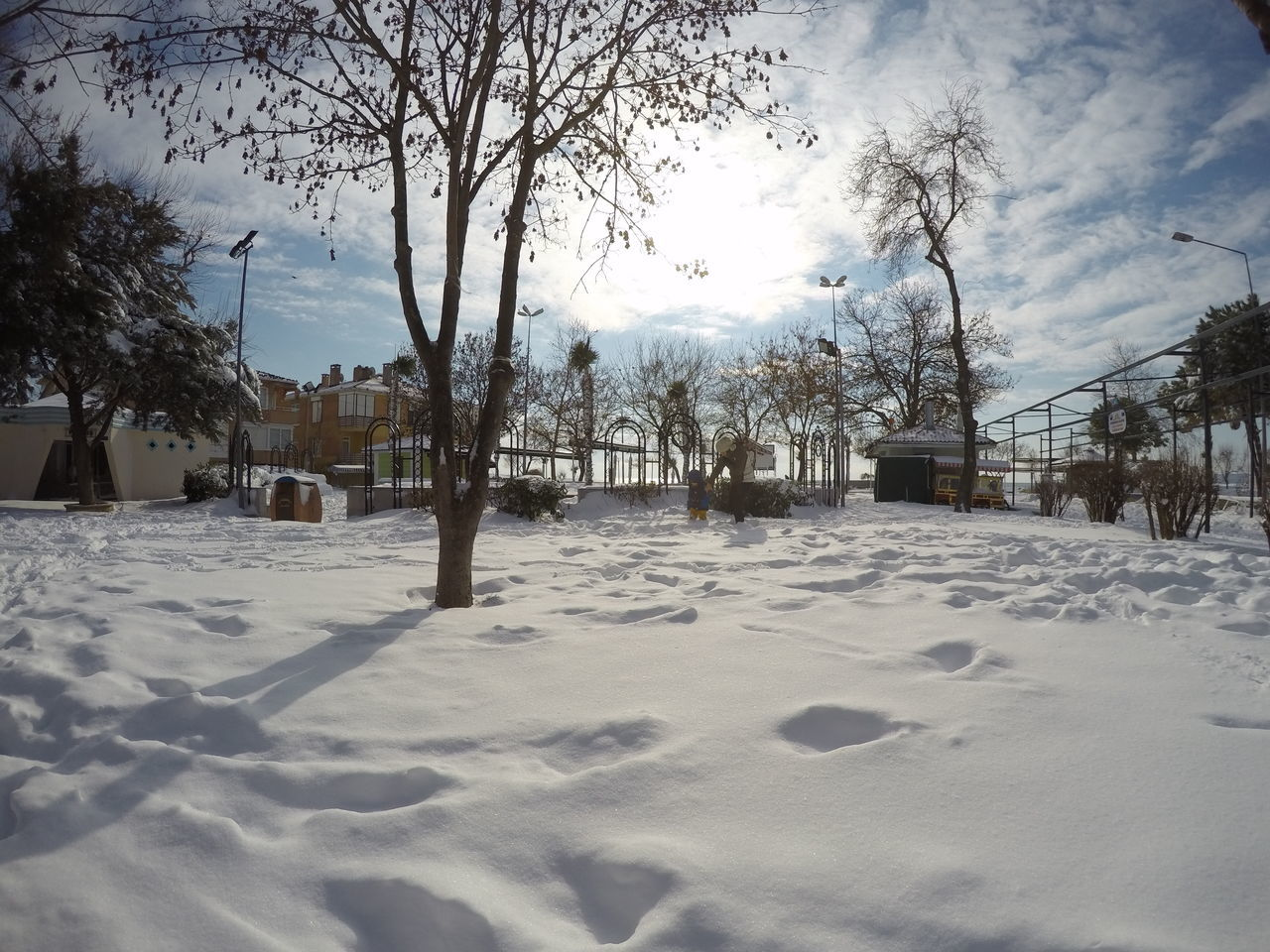 Beauty In Nature City Life City Street Cold Temperature Day Gopro GoPrography Goprooftheday Hero4 Hero4black Kid At Playground Kidsphotography Mom And Son Nature Outdoors Playground Sky Snow Snow ❄ Snowball Tree Weather Winter
