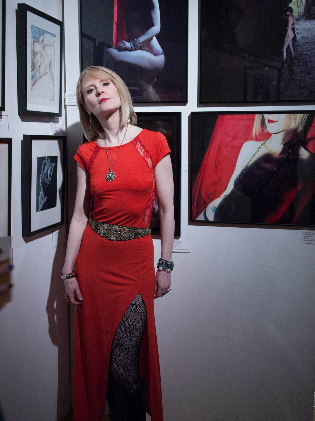 Kitka13 standing by my photographs of her at Naughti Gras Art show. Adult Art Exhibit Art Gallery Arts Culture And Entertainment Beautiful Woman Beauty Blonde Girl Fashion Indoors  Model Nightlife . One Person One Woman Only Only Women People Red Red Dress Red Lips Reflection She Walks In Beauty
