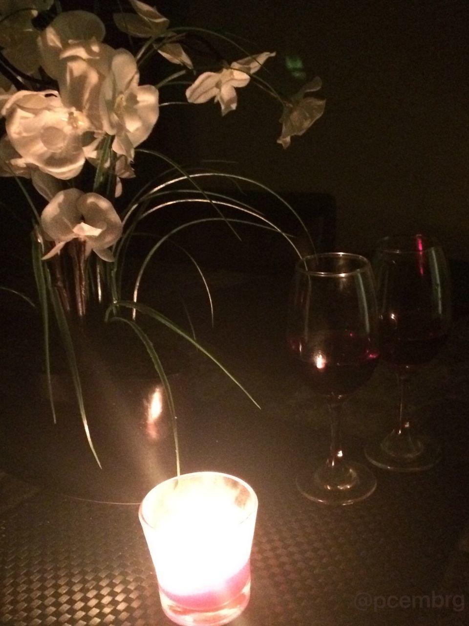 illuminated, candle, night, flame, flower, burning, table, indoors, close-up, no people, celebration, wineglass, freshness