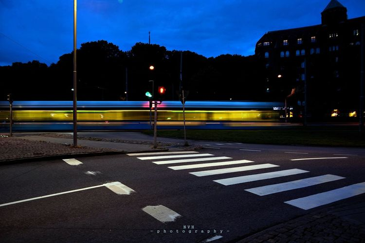 Göteborg, Sweden Paint The Town Yellow Night Train Road Outdoors No People