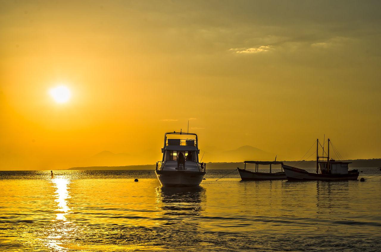 Sunset Sun Beauty In Nature Tourism Honeyisland Ocean Sea Ilhadomel Ilha Do Mel - Paraná / Brasil Pordosol
