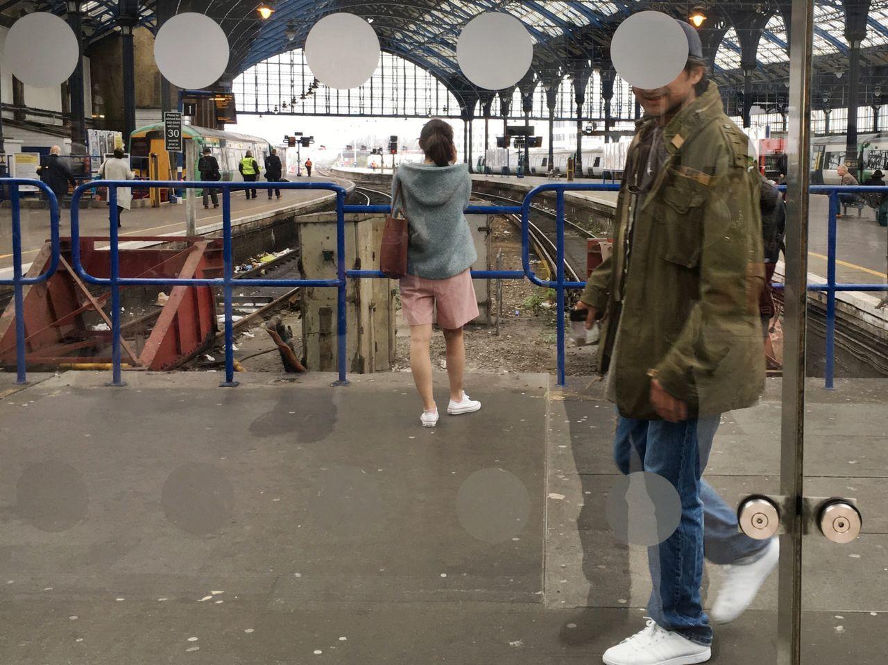 Railway Station Real People Standing Travel Two People Walking