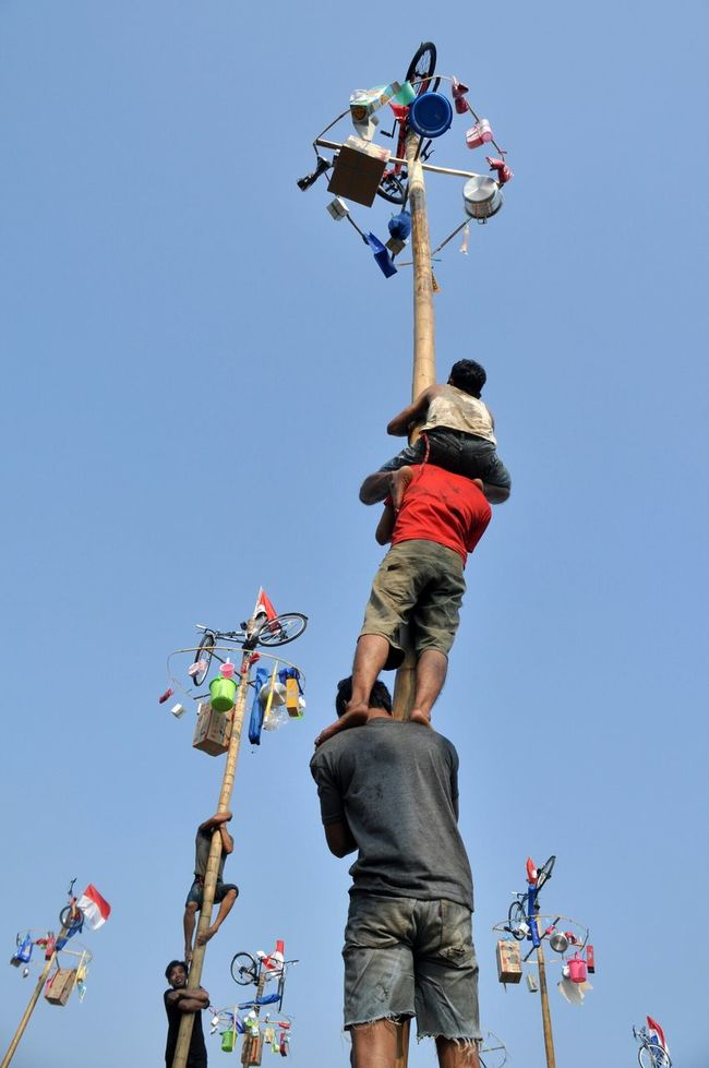 Areca nut tree climbing competition or panjat pinang is one of activities of the Indonesian people to celebrate indeendence day on August 17. Panjat Pinang Pinang Areca Tree Independence Day Indonesia Independen Day 17 Agustus 17 Agustus 1945 Kemerdekaan Climbing