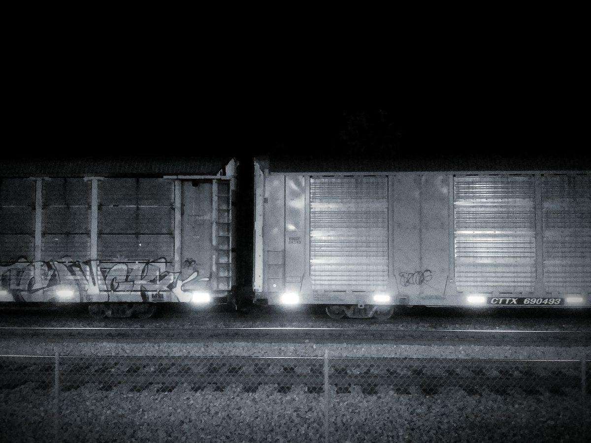 Black And White Union Pacific Railroad Trains Nostalgia Classic America Graffiti Night Photography