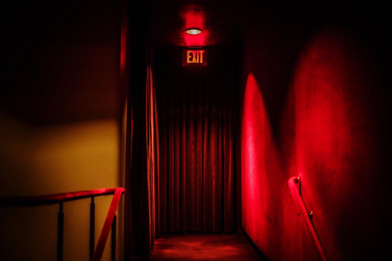 Exit Red Velvet Curtains Theater NYC New York City Newyork Metropolitan Theater Metropolitan Opera House