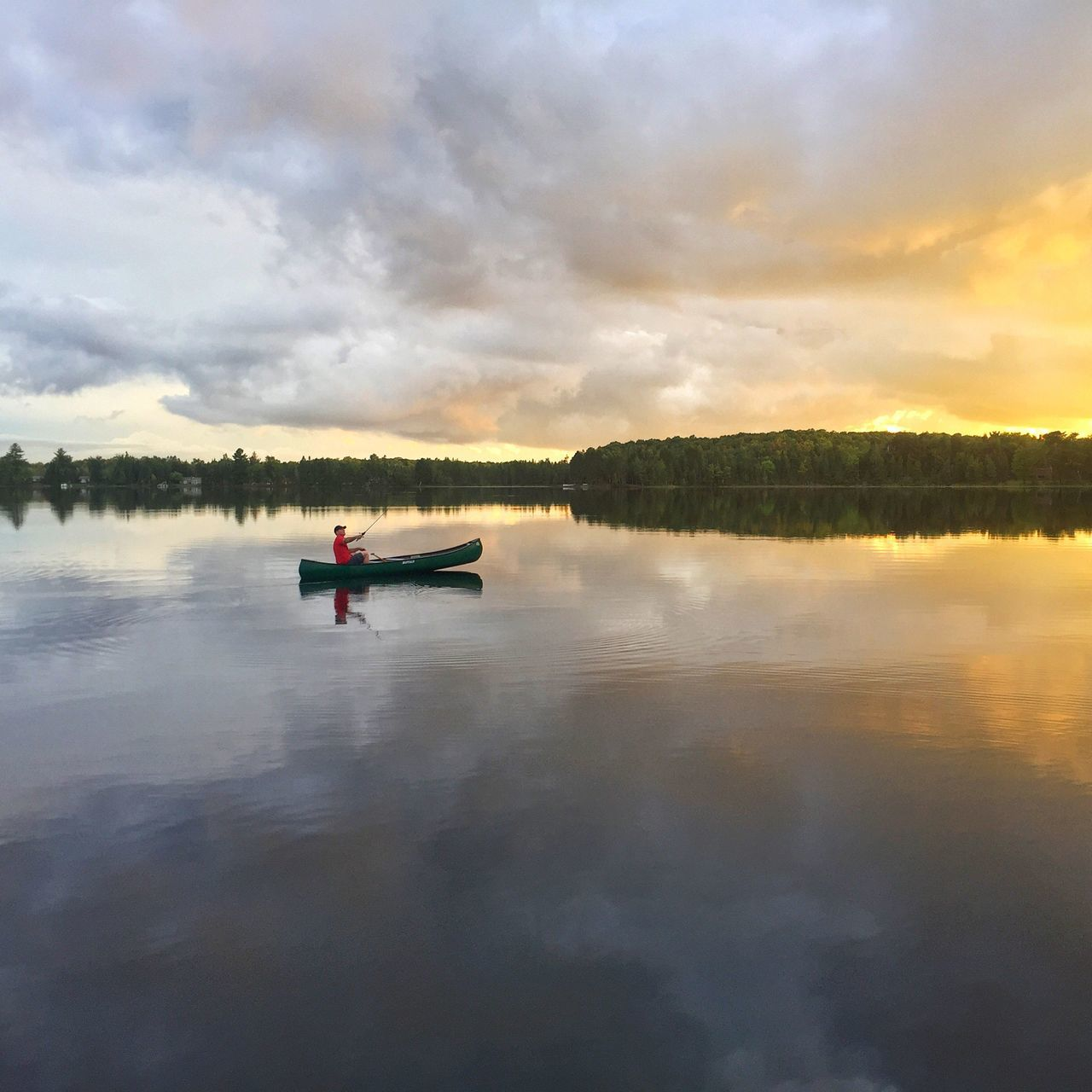 Evening fishing Water Reflection Tranquility Lake Sunset Cloud Sky Canoe Nature Tranquil Scene
