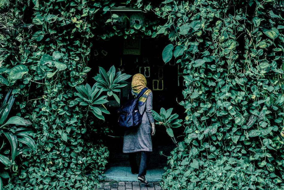 Architecture Art Is Everywhere Beauty In Nature Doorways Green Color Growth Ivy Leaf Leisure Activity Lifestyles One Person Outdoors Plant Real People Rear View The Secret Spaces EyeEm Diversity The Week On EyeEm