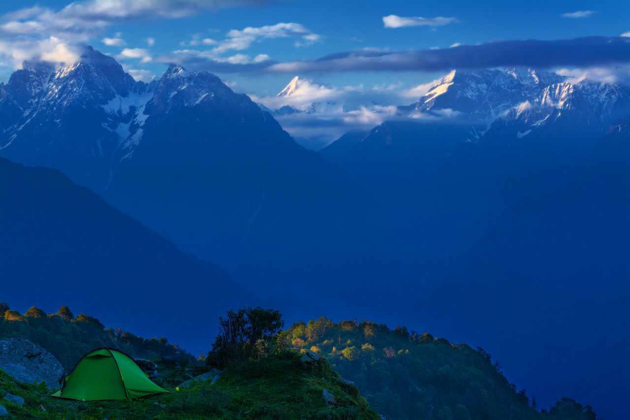 Camping in the Himalayas Beauty In Nature Blue Camping Camping Himalayas Hiking Himalaya Trek Himalayas HimalayaScape Kumaon Landscape Mountain Mountain Peak Mountain Range Nature Outdoors Scenics Sunset Tent Tourism Tranquil Scene Tranquility Travel Destinations Uttarakhand Uttarakhand Tourism