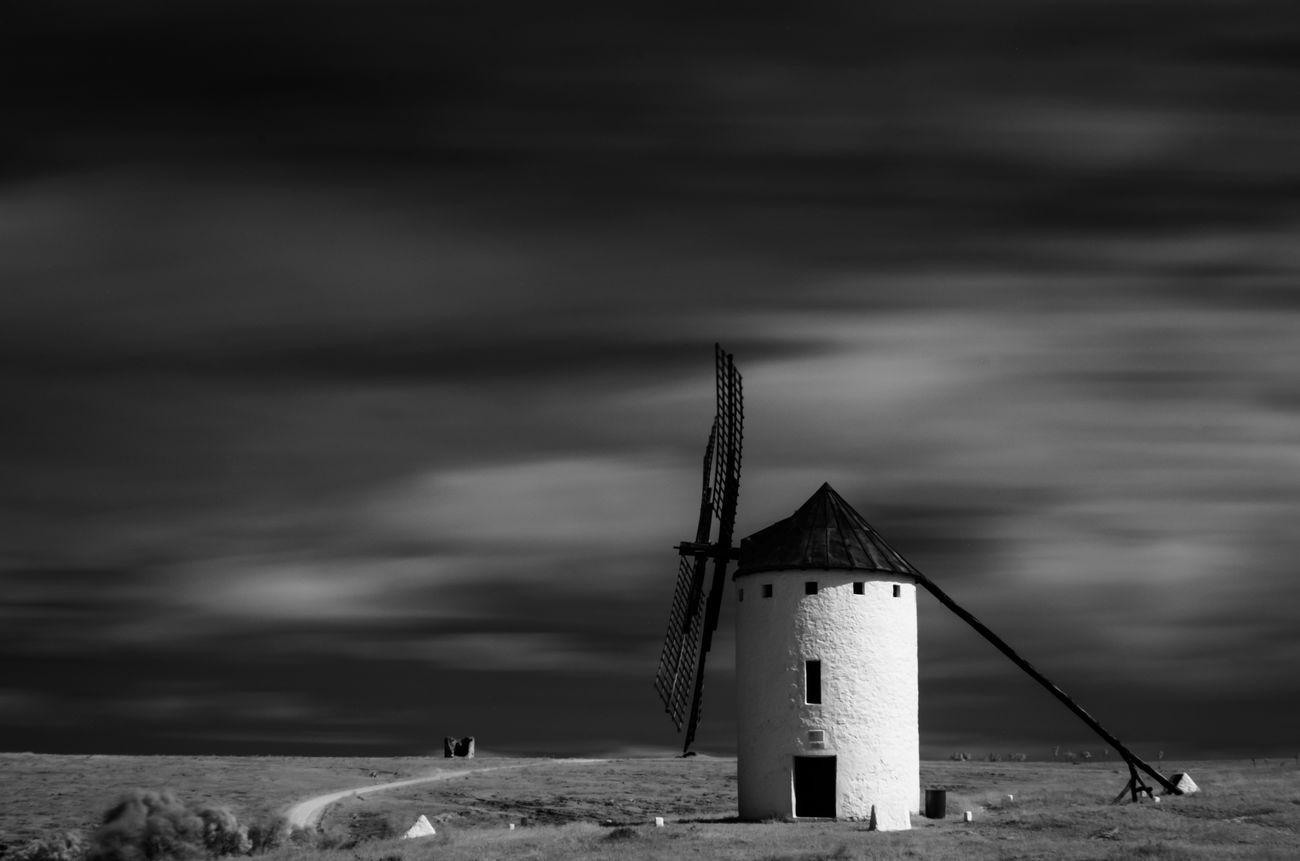 Beautiful Black And White CastillaLaMancha La Mancha Long Exposure Mill SPAIN Spanish Windmills