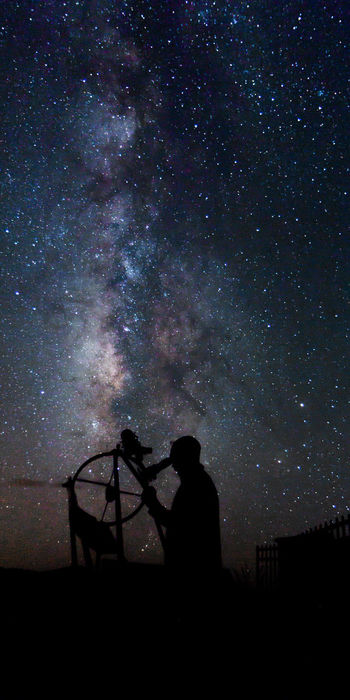 Exploring the unknown Astronomy Awe Beauty In Nature Celestial Constellation Galaxy Heavens Milky Way Night Nighttime Observing Outdoors Search Silhouette Sky Space Star - Space Telescope Viewing