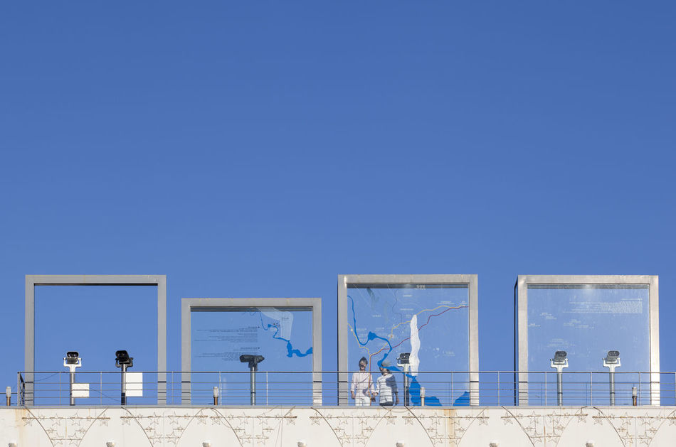 Animal Themes Barbed-wire Fence Bird Blue Blue Color Blue Sky Clear Sky Copy Space Façade Imjingak In Front Of Korean Flag No People Observatory Paju, S. Korea Perching Ribbon Taegeukg Telescope Tranquility Zoology