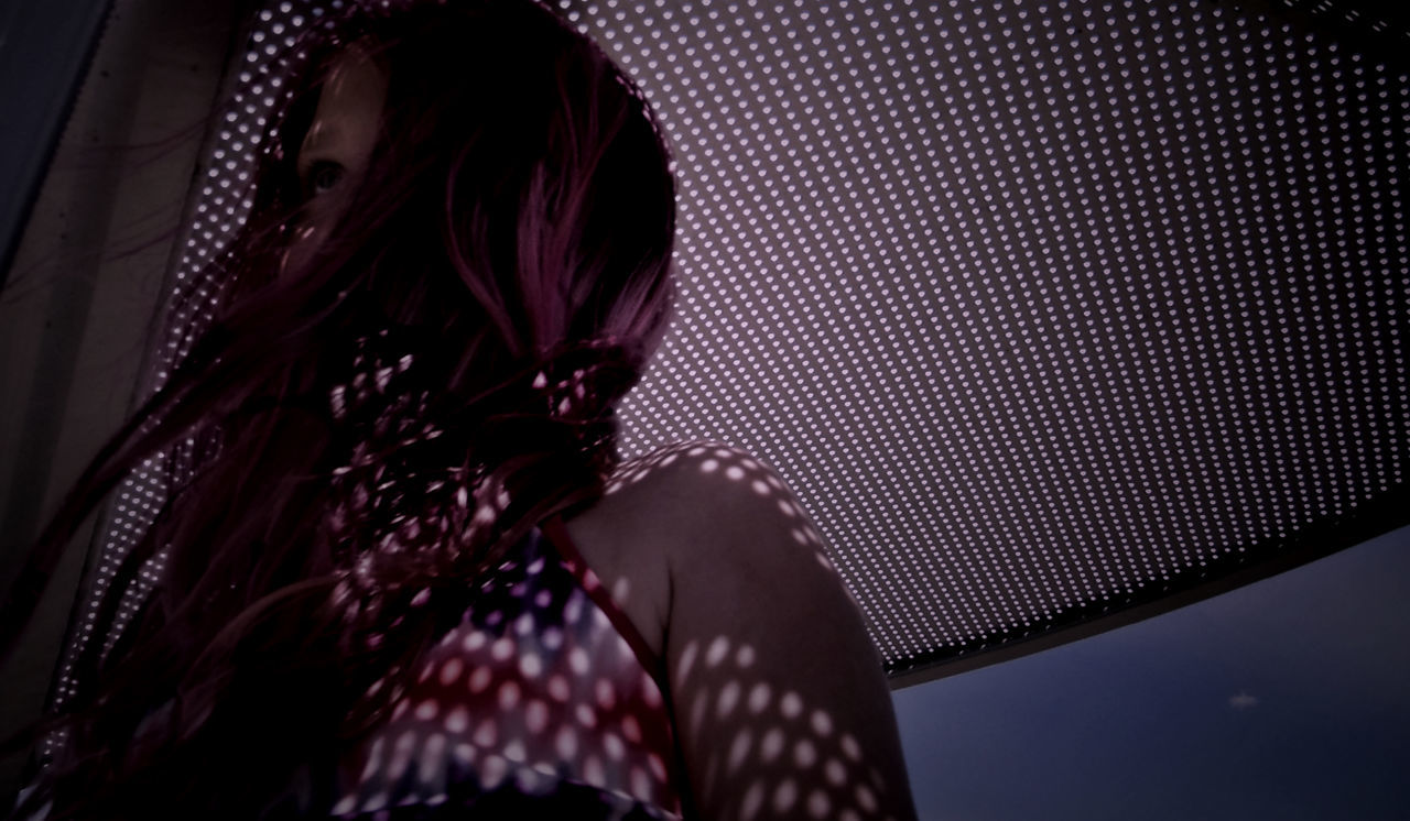 Abstraction Blowing City Life Close-up Geometric Girl Low Angle View One Person Outdoors Pink Hair Real People Shadows Shadows & Lights