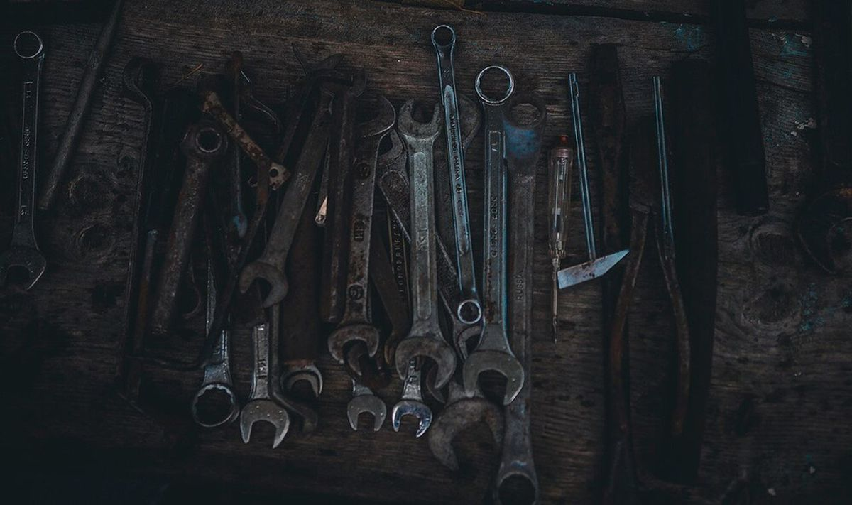 Work Tool Indoors  Hand Tool Wood - Material Scissors Workshop Directly Above Large Group Of Objects Table Choice Variation No People Metal Industry Repair Shop Day