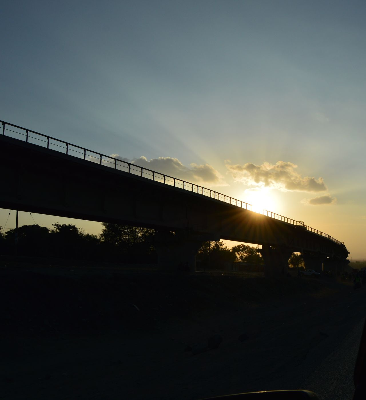 Sgr, Bridge - Man Made Structure Sky Kenyanphotographer Lens Flare Kenya Kenya❤ Nikonphotography Train Track Train Bridges Athi River Sunset Sgr