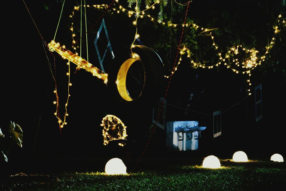 College Fest Awesome Night Outdoors Tree Illuminated Partying Till Sunrise Best Out Of Waste Decoration