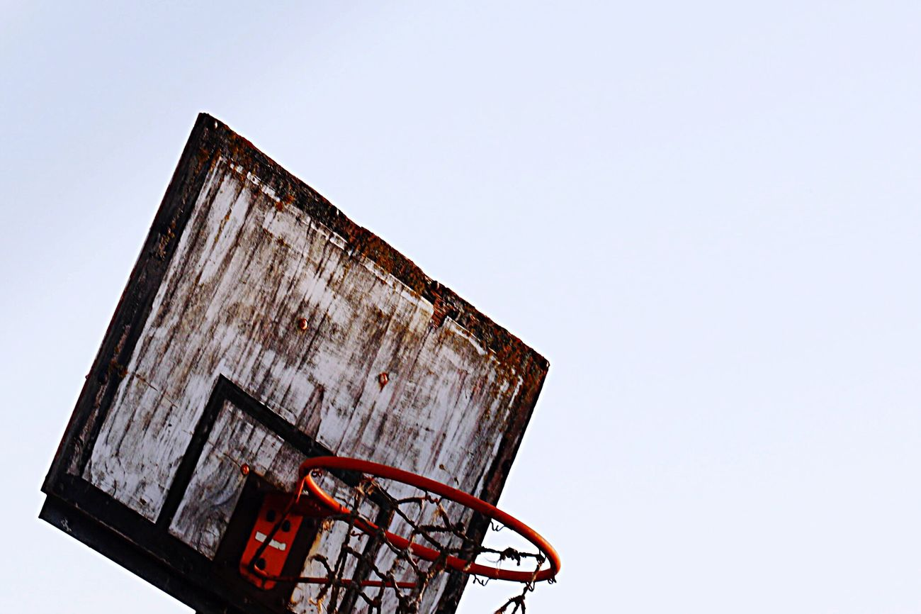 Decline Basketball Old Abandoned Abandoned Places Sport Streetphotography Minimalism Urban Geometry Decay Beauty Of Decay Beauty In Ordinary Things Outdoors Sports Sport In The City Basket Hoop Geometric Shapes Square Bad Condition Broken Creative Single Object White Background Sky White