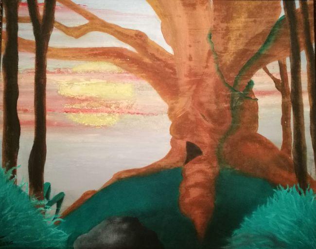 Tempera Su Tela. Barbalbero. Fantasy. Tree