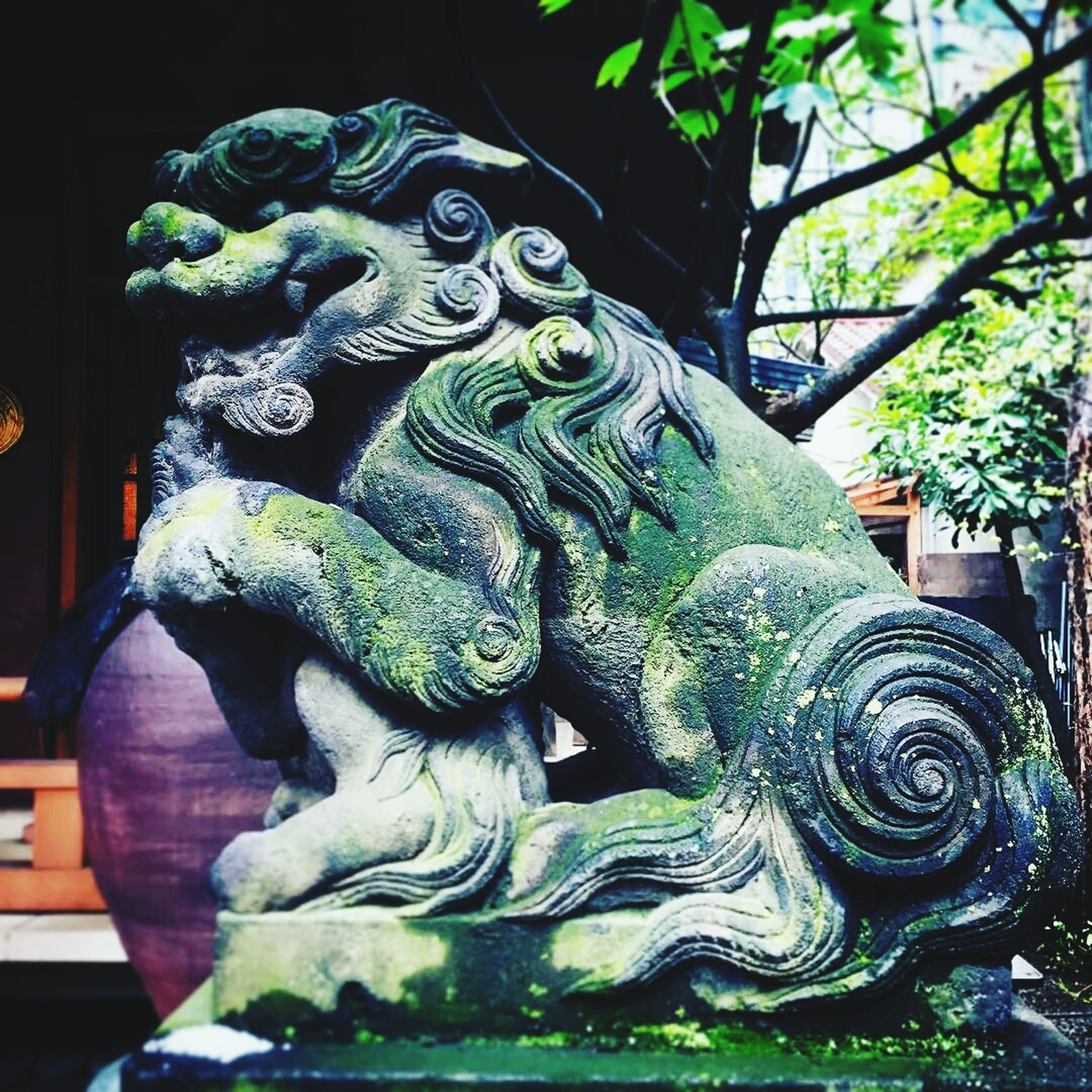 animal representation, art and craft, sculpture, statue, animal themes, no people, outdoors, night, chinese dragon