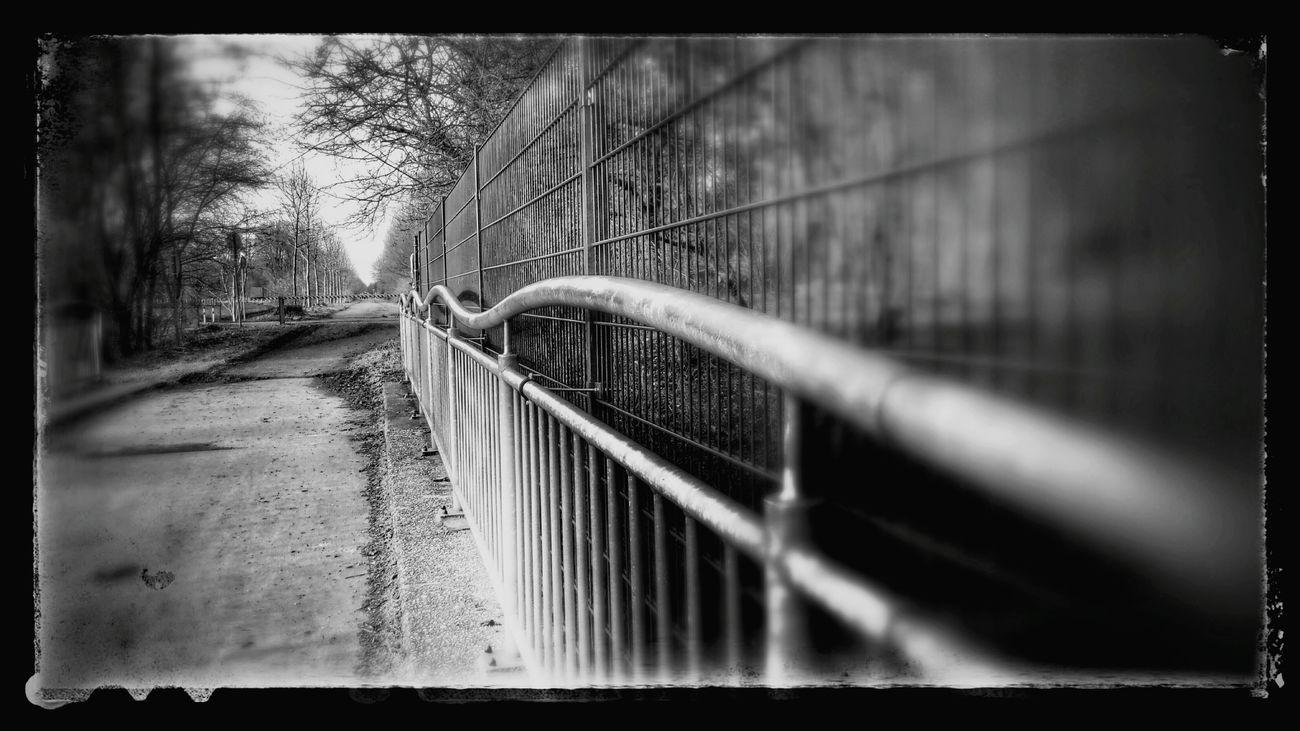Nierssee Viersen Gelender Weg Zaun B&w