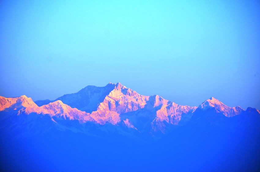 Beauty In Nature Blue Clear Sky Cold Temperature Copy Space Day Landscape Low Angle View Mountain Mountain Range Nature No People Non-urban Scene Outdoors Scenics Sky Tranquil Scene Tranquility