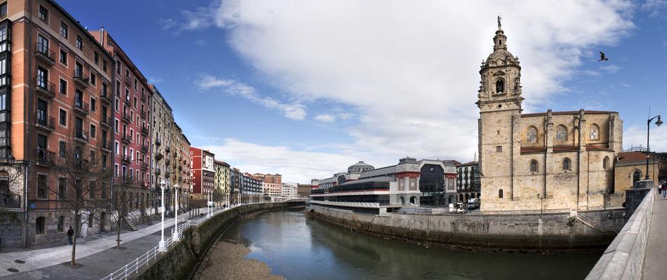 panorama Basque Country Bilbao Church Estuary Euskadi Old Town Panorama Panoramic River SPAIN Vizcaya