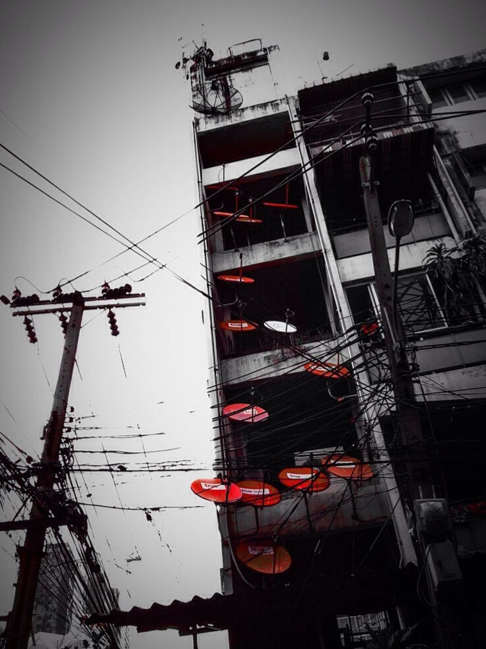 Showcase June Dishes Satellite Dishes Residential Building Two Tones Highlight Street Walk Red Only