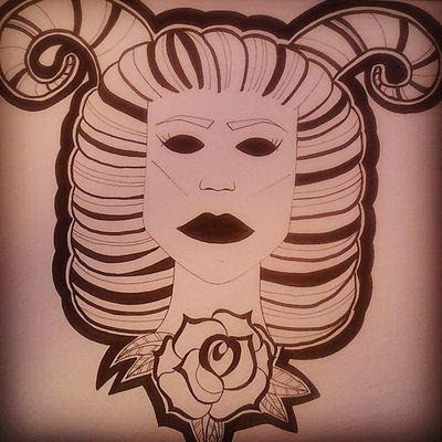 +WIDDER+ Drawingtime Drawing Malen Zeichnen pixiiart artbypixii blackwhite roses horns