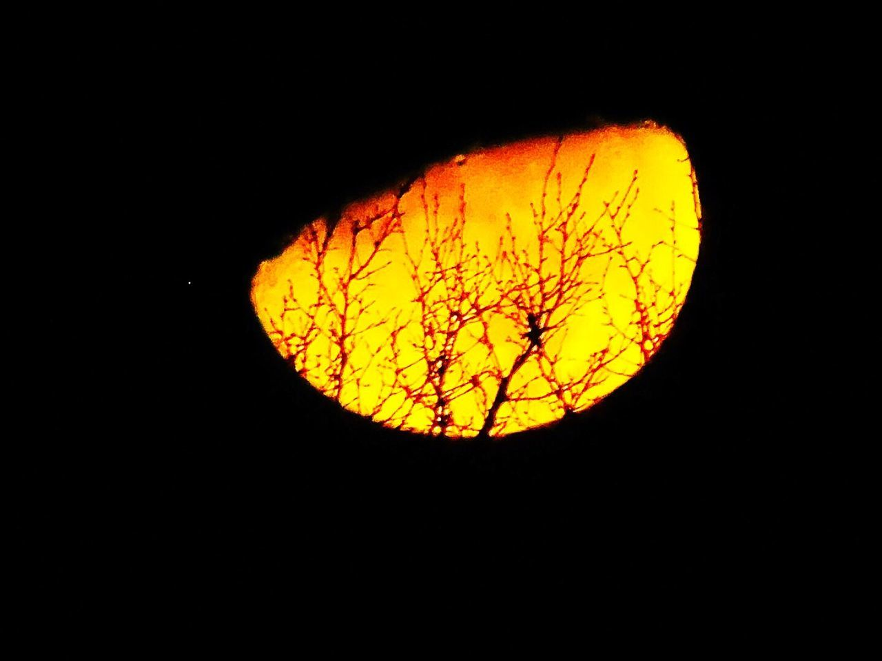 moon, night, yellow, burning, heat - temperature, flame, no people, beauty in nature, scenics, nature, outdoors, astronomy, close-up, sky